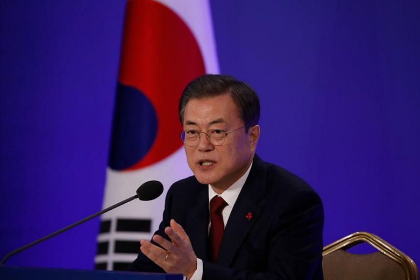South Korean President Moon Jae-in speaks during his New Year press conference at the presidential Blue House in Seoul on Jan 14, 2020.