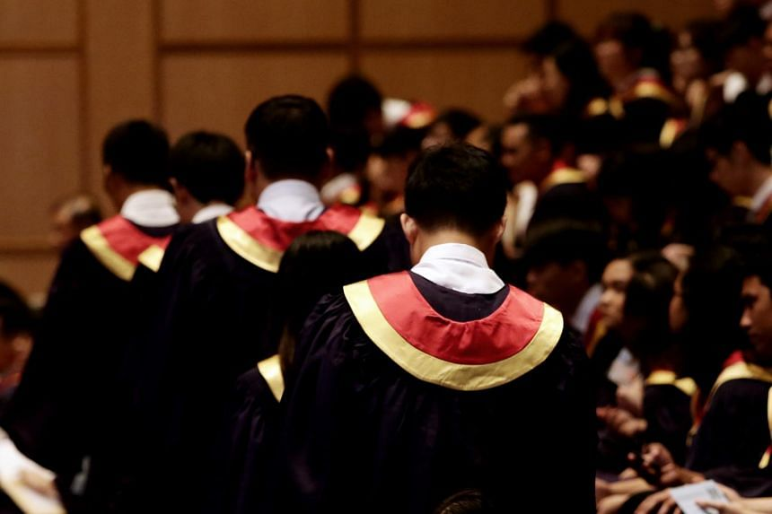 In a photo taken on May 3, 2019, Nanyang Polytechnic graduates at their graduation ceremony.