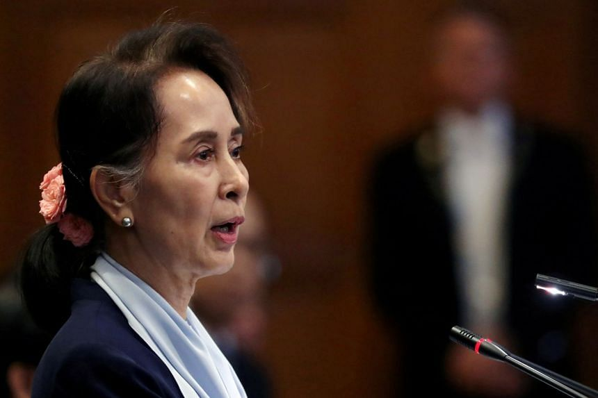 Myanmar's Aung San Suu Kyi speaking at the International Court of Justice in The Hague, Netherlands, on Dec 11, 2019.