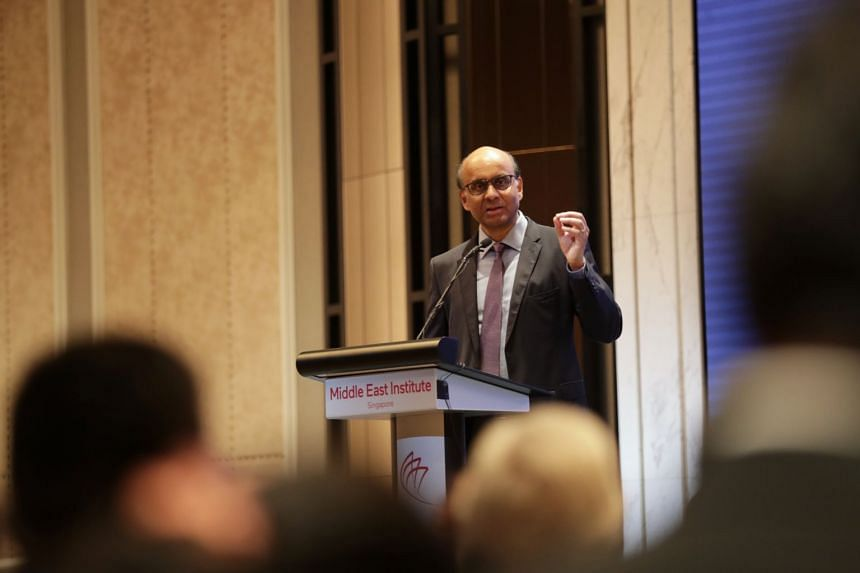 Senior Minister and Coordinating Minister for Social Policies Tharman Shanmugaratnam delivers his speech during the Middle East Institute Annual Conference 2020 at Orchard Hotel, on Jan 15, 2020.