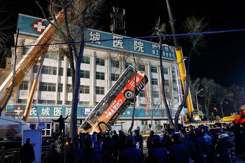 An enormous sinkhole swallowed a bus and pedestrians in China, sparking an explosion, killing six people and leaving 10 more missing, state media said yesterday. The incident occurred around 5.30pm on Monday in Xining, the capital of Qinghai province