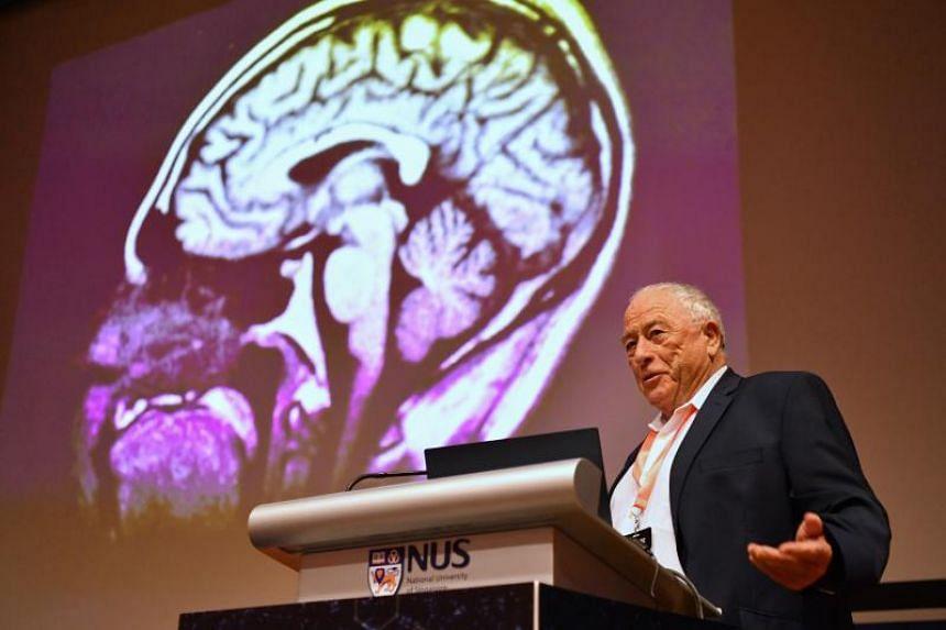 Prof Kurt Wütrich, Nobel laureate, ETH Zurich, speaks at the inauguration of the Synchrotron for Neuroscience – Asia Pacific Strategic Enterprise.