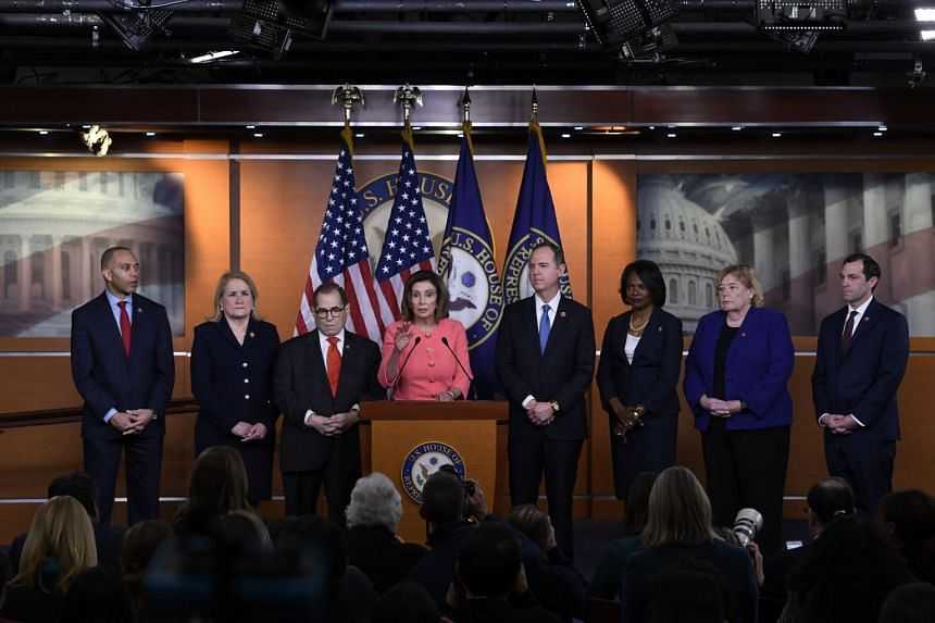House Speaker Nancy Pelosi speaks during a news conference to announce impeachment managers on Capitol Hill in Washington.