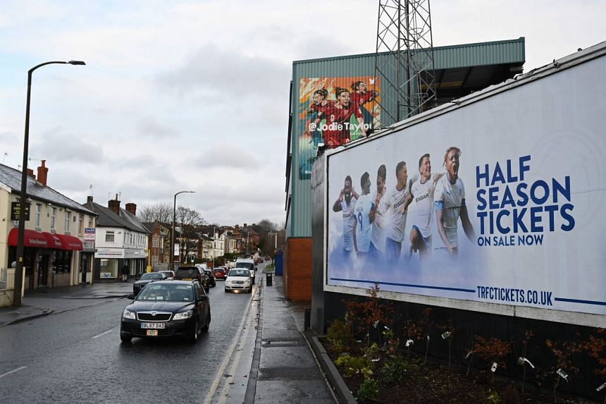 Signs outside Prenton Park, the home ground of Tranmere Rovers, in Birkenhead, north-west England, on Jan 14, 2020.