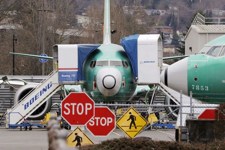 A file photo shows Boeing 737 Max jets parked in Renton, Washington.