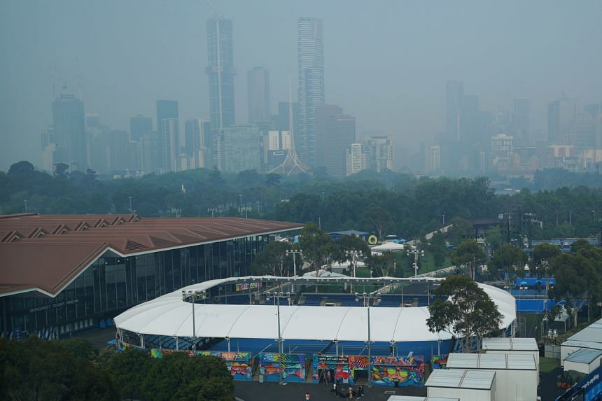 Smoke haze from bushfires seen at Melbourne Park, the venue for the Australian Open practice sessions, in Melbourne, Australia, on Jan 15, 2020.