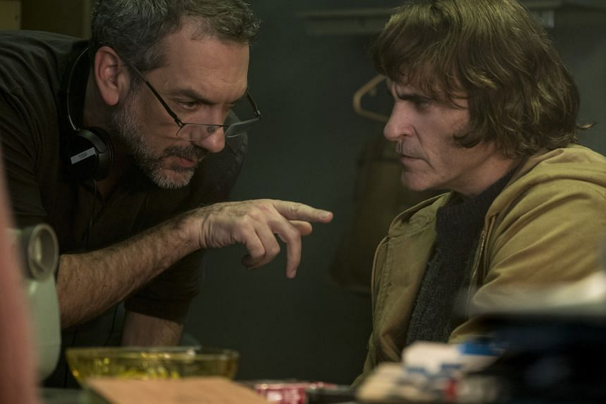 Actor Joaquin Phoenix (right) and director Todd Phillips (left) on the set of Joker. They are in the running for Best Actor and Best Director Oscars.