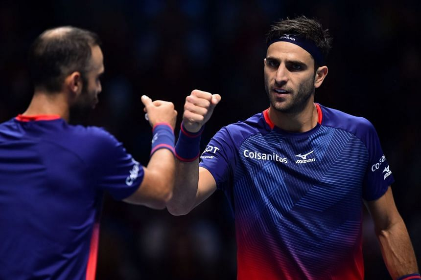 Farah (right) during the ATP World Tour Finals in London in November 2019.