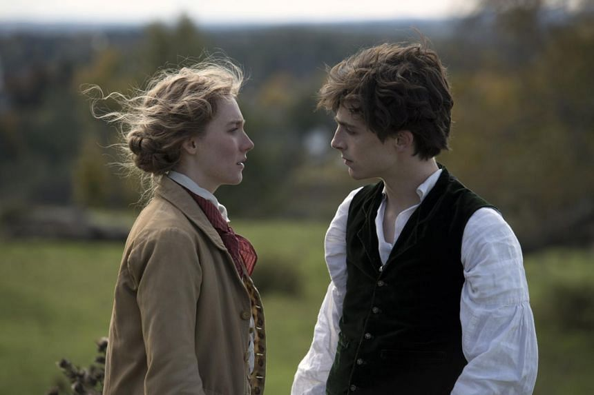 Still from the film Little Women featuring Saoirse Ronan (left) and Timothee Chalamet.