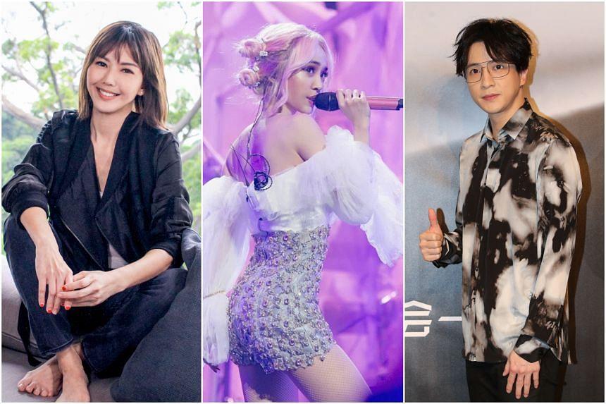 (From left) Home-grown Mandopop star Stefanie Sun, Taiwanese singer Jolin Tsai and Chinese singer Joker Xue.