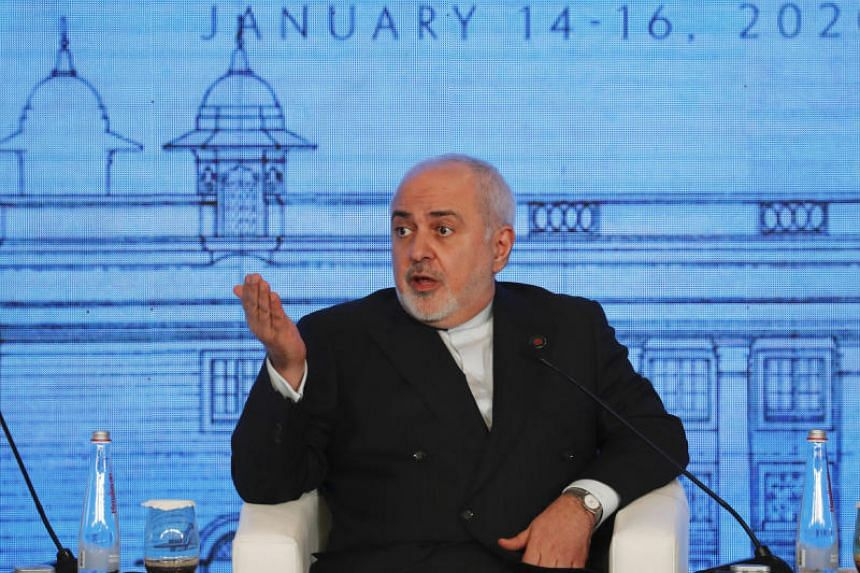 Iran's foreign minister Mohammad Javad Zarif speaks at a conference in New Delhi on Jan 15, 2020.
