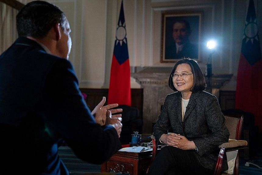 """Taiwanese President Tsai Ing-wen being interviewed by BBC correspondent John Sudworth in Taipei on Tuesday. In the interview, she described her victory in last Saturday's election as a """"strong message from the Taiwanese people"""" about how fed up they"""