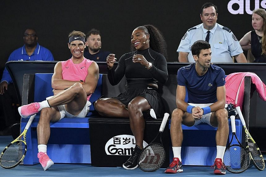 (From left) Rafael Nadal, Serena Williams and Novak Djokovic were among the stars who raised nearly A$5 million for bush-fire relief efforts at a charity match last night. PHOTO: AGENCE FRANCE-PRESSE
