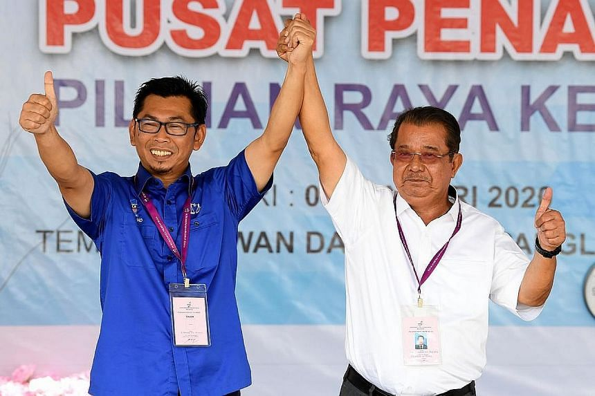 Warisan's campaign has been spearheaded by Sabah Chief Minister Shafie Apdal (above). Warisan's Mr Karim Bujang (at left) and BN's Mr Mohamad Alamin (far left), who is from former ruling party Umno, are local faces and seasoned politicians.