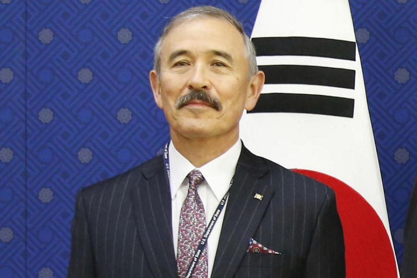 In a photo taken on Nov 6, 2019, US Ambassador to Seoul Harry Harris pose for photos at South Korea's Foreign Ministry.