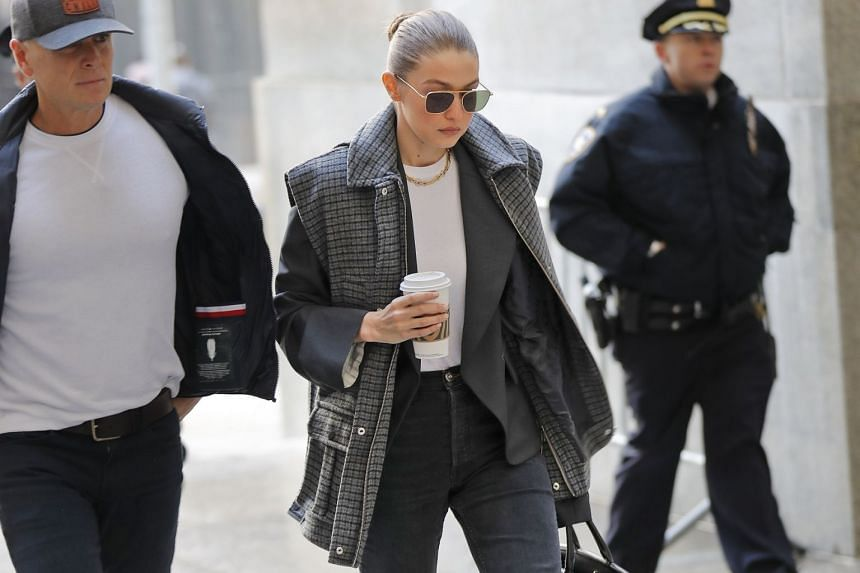 Gigi Hadid arrives at a Manhattan courthouse for Harvey Weinstein's jury selection in New York, Jan. 16, 2020.