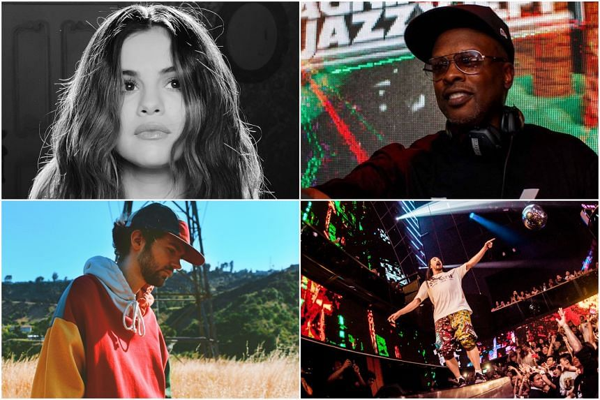 (From top left, clockwise) Selena Gomez, DJ Jazzy Jeff, Steve Aoki and Madeon.