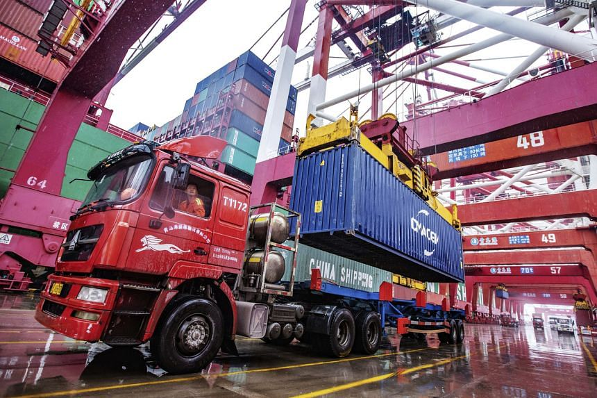 The container port in Qingdao in eastern China's Shandong province, on Jan 14, 2020.