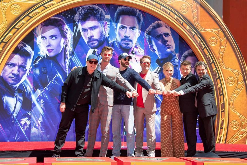 (From left) Marvel Studios president Kevin Feige and Avengers: Endgame actors Chris Hemsworth, Chris Evans, Robert Downey Jr, Scarlett Johansson, Mark Ruffalo and Jeremy Renner at Hollywood's TCL Chinese Theatre in this photo taken on April 23 last