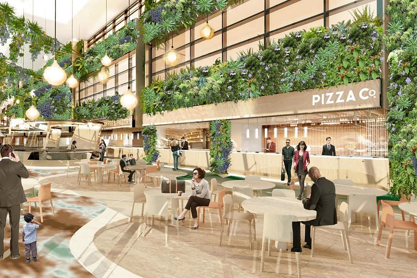 Artist's impression of the departure transit hall: Dining in a Garden.