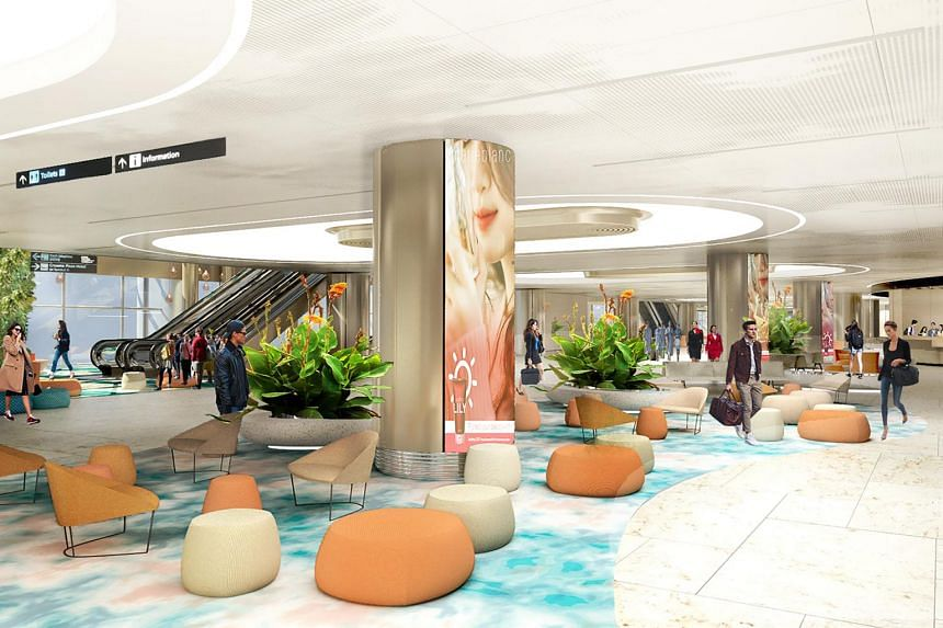 Artist's impression of the arrival hall: Waiting in a Garden.