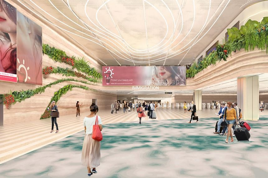 Artist's impression of the arrival immigration hall.