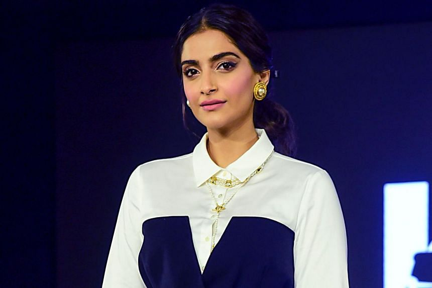 A photo taken on Oct 18, 2019, shows Bollywood actress Sonam Kapoor Ahuja on stage during the launch of capsule collection of Karl Lagerfeld in Mumbai.