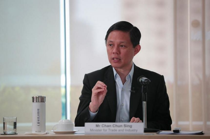 Trade and Industry Minister Chan Chun Sing speaks during a media briefing on Jan 16, 2020.