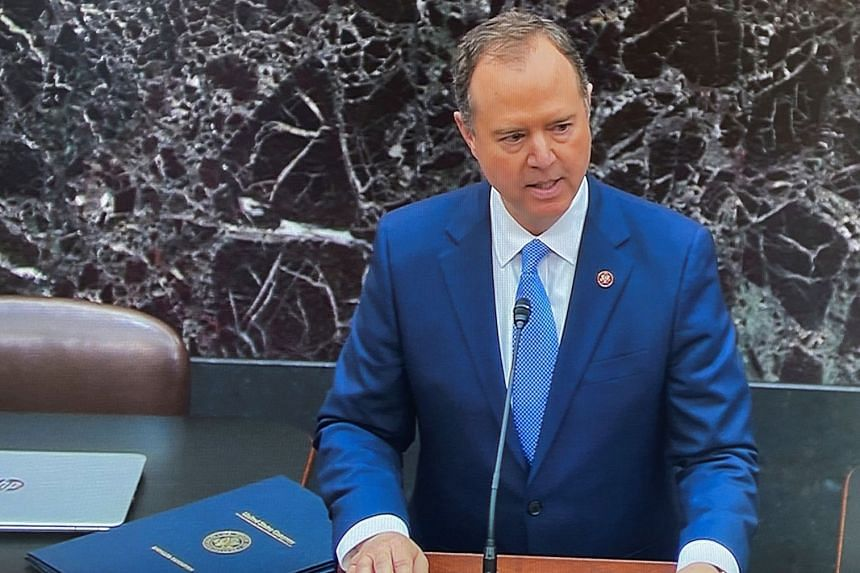 Adam Schiff reads the House articles of impeachment of US President Donald Trump at the Senate.