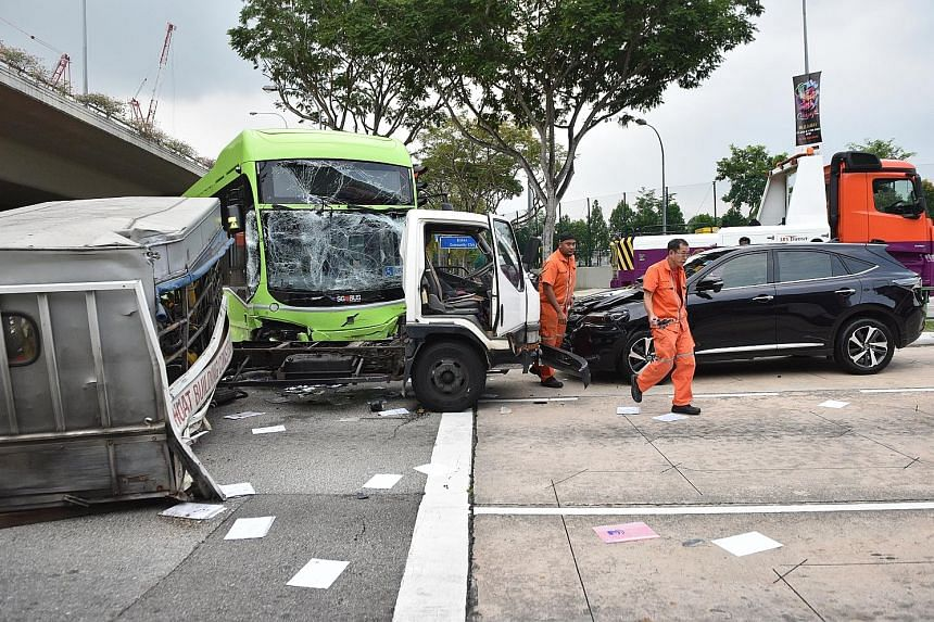 This road accident involving an SBS Transit bus, a lorry and a car left two passengers injured yesterday. They were taken to hospital after the accident at the junction of Braddell Road and Bishan Road. The Singapore Civil Defence Force and police we