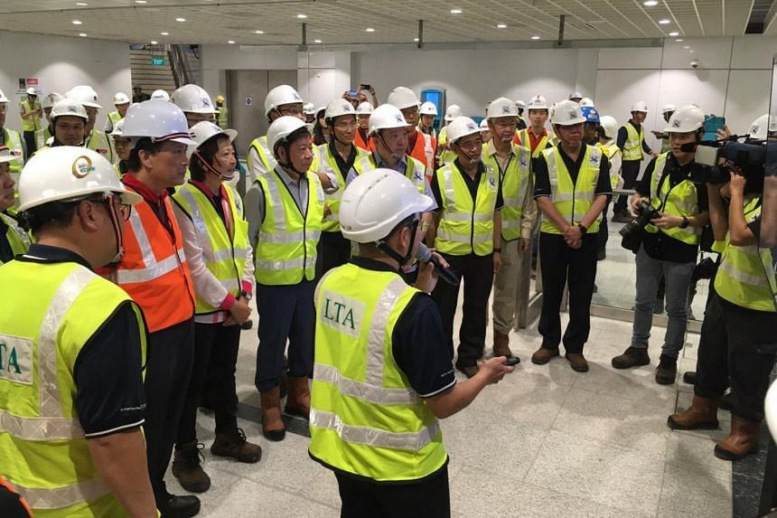 Transport Minister Khaw Boon Wan being briefed on the construction progress of the Thomson-East Coast Line Stage 2 on Jan 17, 2020.