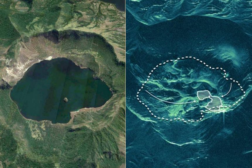 The lake within the Taal volcano has disappeared amid the ongoing volcanic activity. The picture on the left is a Google Maps satellite photo of the lake before the volcanic activity. In the radar image on the right, the dashed line is the lake's for