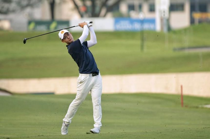 Jazz Janewattananond of Thailand hits a shot on hole 18 during day 2 of the SMBC Singapore Open at Sentosa's Serapong Course, on Jan 17, 2020.