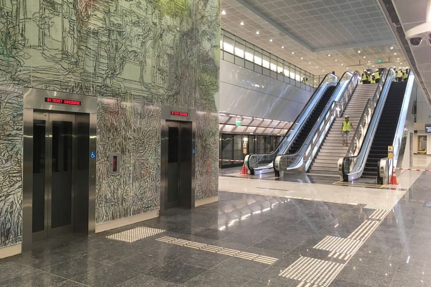 Springleaf MRT station, one of the six stations along the Thomson-East Coast Line that will open later this year.