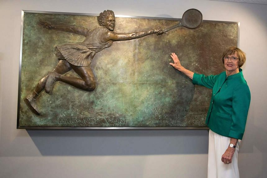 Former champion Australian tennis player Margaret Court poses at an official opening ceremony of the Margaret Court Arena in Melbourne on Jan 26, 2015.
