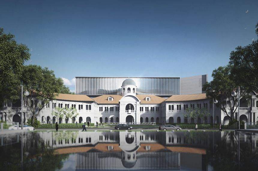 An artist's impression of the Singapore Art Museum's new building design, featuring the front view of the former St Joseph's Institution building with a new Sky Gallery and pedestrianised green space.