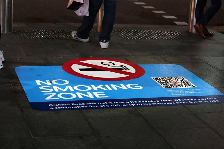 """Since the start of 2019, public areas within the Orchard Road precinct have been designated as """"no smoking"""" zones."""