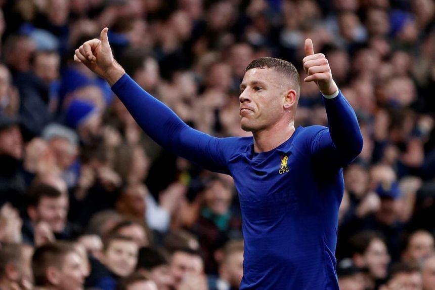 Chelsea's Ross Barkley celebrates scoring a goal.