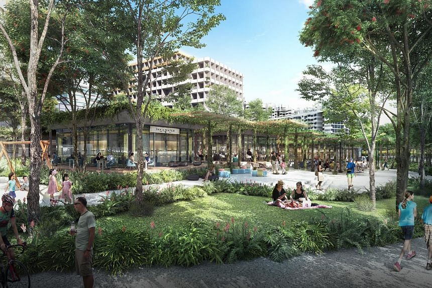 Artist's impressions (above and below) of the Punggol Digital District, where about 28,000 digital economy jobs are expected to be created.