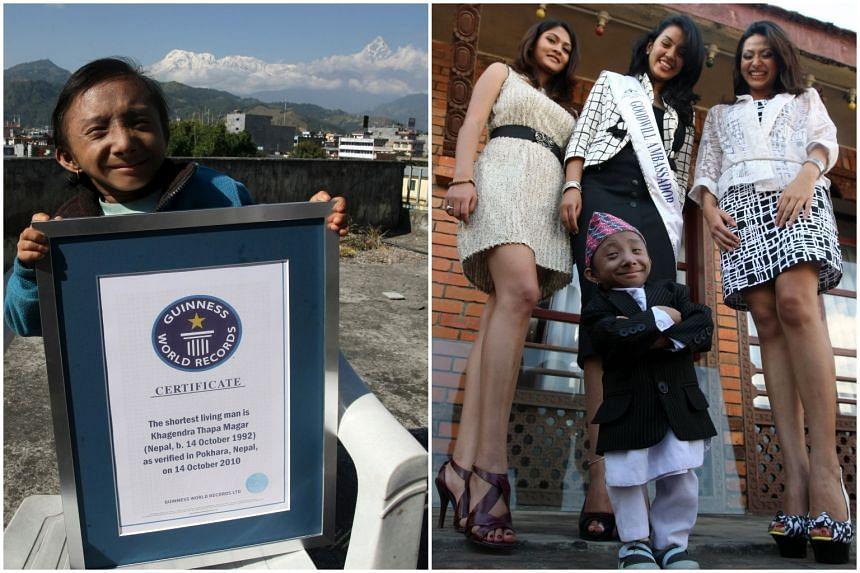 Mr Khagendra Thapa Magar displaying his Guiness record certificate in Pokhara on Oct 29, 2010, and posing with Miss Nepal World 2010 Sadichha Shrestha (centre), first runner-up Sahana Bajracharya (right) and second runner-up Samyukta Timilsina in Kat