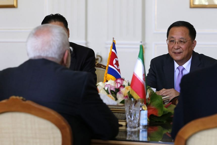A photo taken on Aug 7, 2018, shows North Korea's Foreign Minister Ri Yong Ho during a meeting with Iran's Foreign Minister Mohammad Javad Zarif in Teheran.