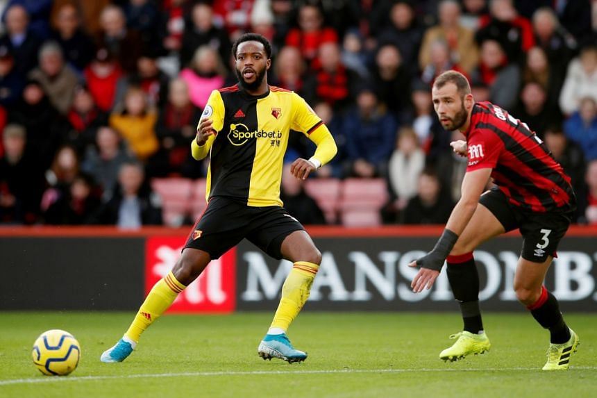 Watford's Nathaniel Chalobah (left) in action against Bournemouth, on Jan 12, 2020.