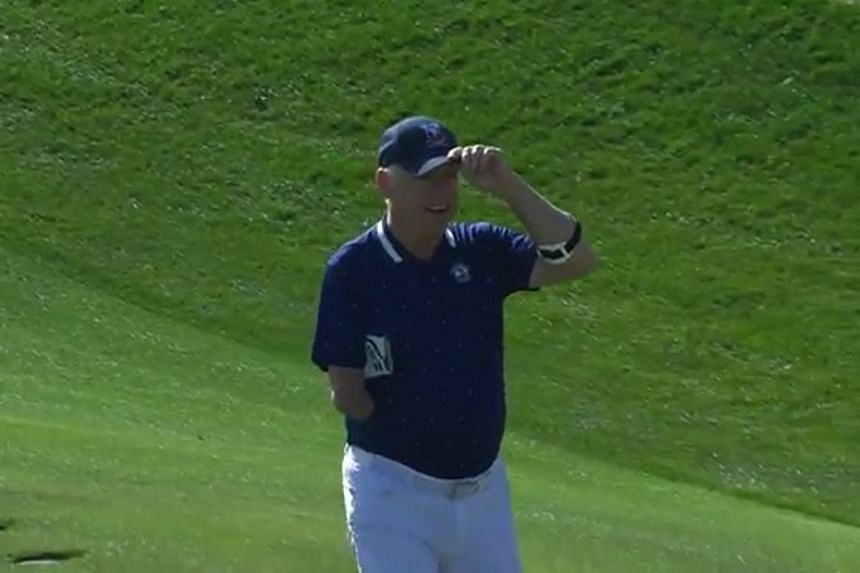 A screenshot from a PGA video posted to Twitter shows golfer Laurent Hurtubise after playing his shot.