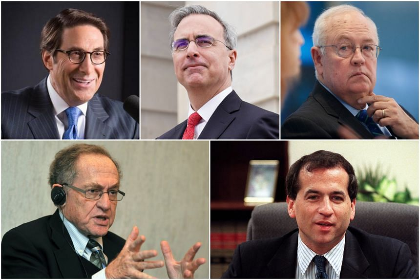 (Clockwise from top left) Jay Sekulow, Pat Cipollone, Ken Starr, Robert Ray and Alan Dershowitz.