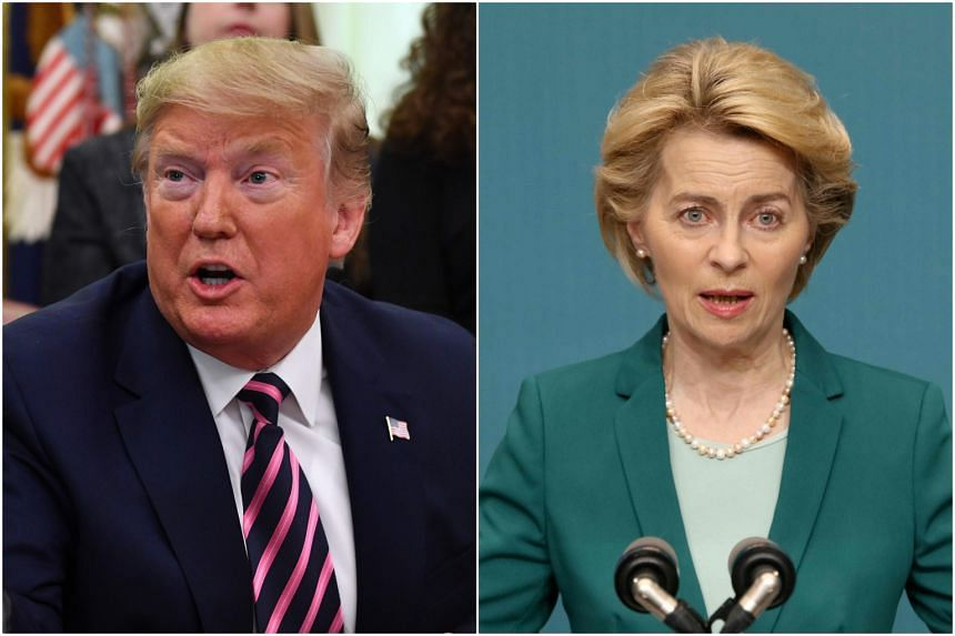 President Donald Trump (left) will attend the World Economic Forum, where he is expected to discuss deepening trade disputes with EU leader Ursula von der Leyen.