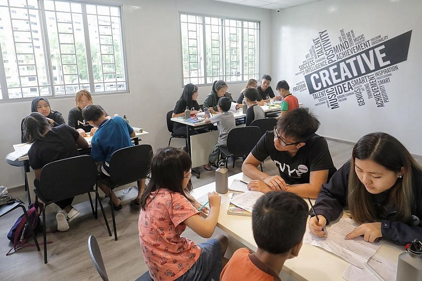 A room used for tutoring students at the new Marsiling Community Link at Block 182A, Woodlands Street 13. The space is meant as a one-stop location so families in rental housing can access a suite of social services.