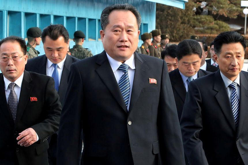 Mr Ri Son Gwon (centre) is well-known among South Koreans after he led a North Korean delegation for the first high-level inter-Korean talks in more than two years in January 2018.