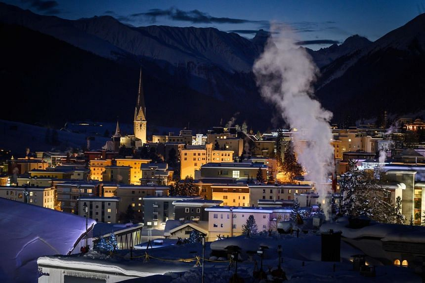 In a photo taken on Jan 20, 2019, shows the Alpine resort of Davos, eastern Switzerland, at dusk ahead of the World Economic Forum annual meeting.