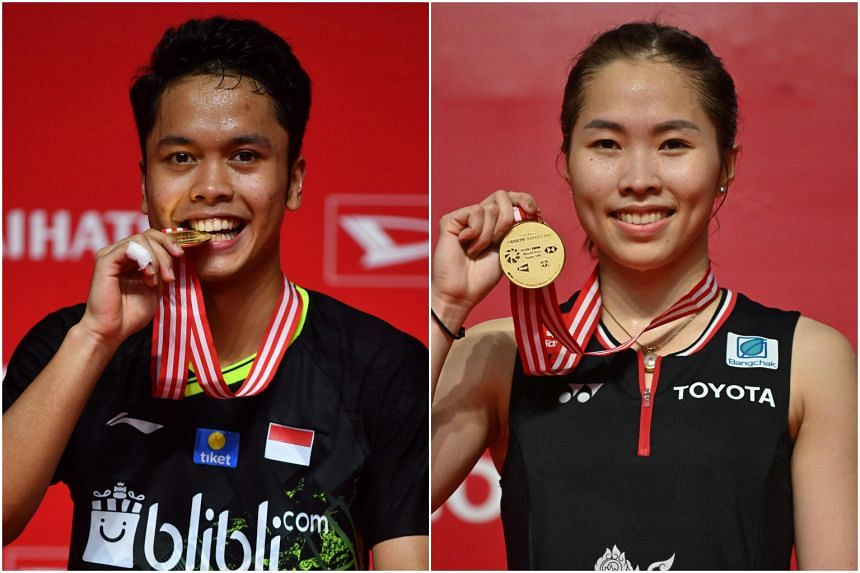 Indonesia's Anthony Sinisuka Ginting snatched the men's title while Thailand's Ratchanok Intanon won the women's title at the Indonesia Masters in Jakarta on Jan 19, 2020.
