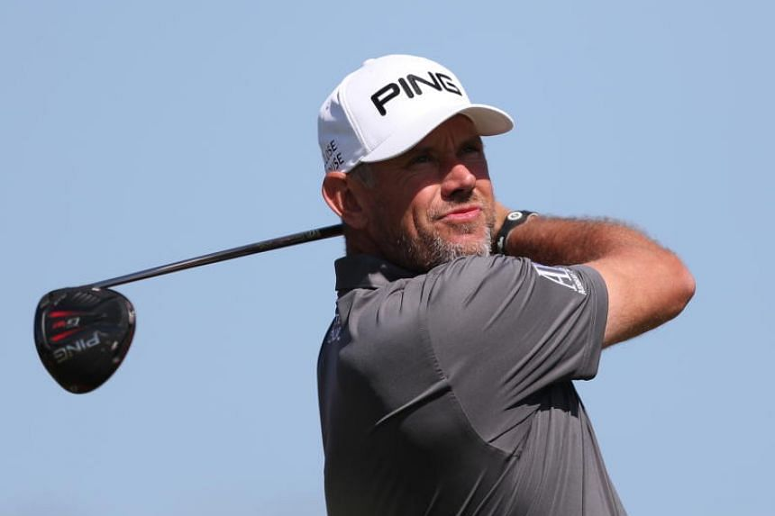 Lee Westwood of England tees off during the final round of the Abu Dhabi HSBC Golf Championship on Jan 19, 2020.
